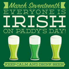 Typographic retro St. Patrick's Day card in vector format.
