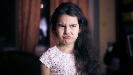 Teen girl child is angry unhappy angry emotions six years