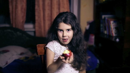 Teen girl child eating an apple bites healthy diet for six years
