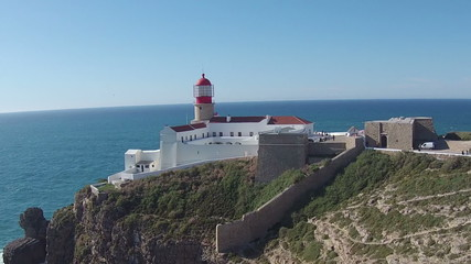 Aerial from the lighthouse Cabo Vicente near Sagres in Portugal