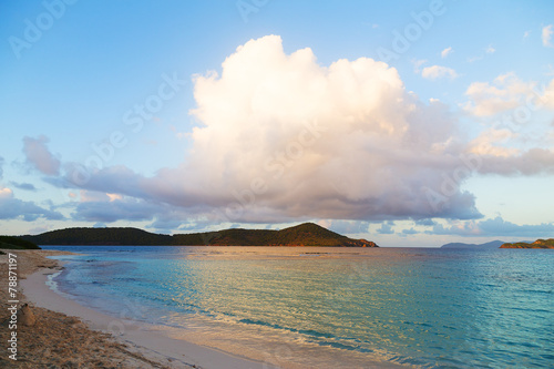 Empty beach after sunset on St Thomas Island, US VI