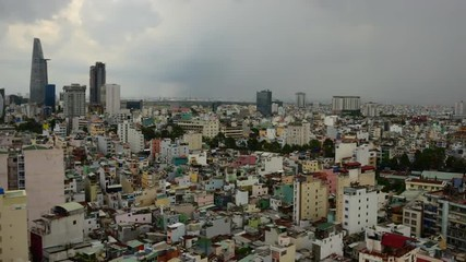 Time Lapse of Rain Clouds and Shadows Passing Over Ho Chi Minh City (Saigon)
