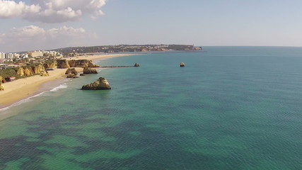 Aerial from Praia da Rocha near Portimao in the Algarve Portugal