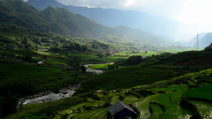 Time Lapse of Clouds and Shadows Passing over a Valley of Rice Terraces in Sapa Vietnam