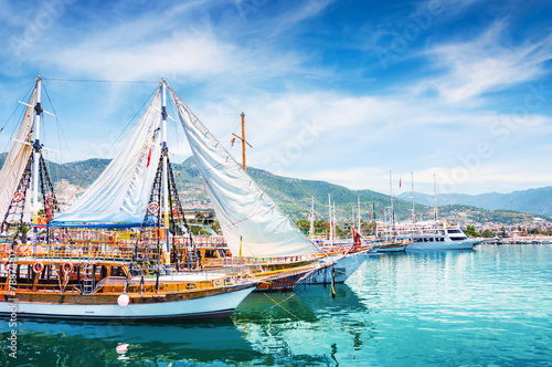 Foto op Canvas Turkey Tourist boats in port of Alanya, Turkey