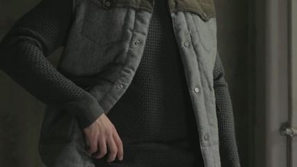 Male fashion: grey jersey & vest