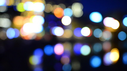 Blurred  Colorful City Lights Reflecting off Water - Hanoi Vietnam