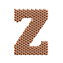 Chocolate dot spotted alphabet letter Z on white background.