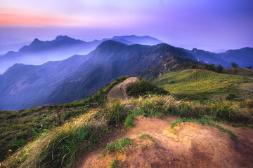 Sunrise and mountain sea of fog at Phu chi fa in Chiangrai