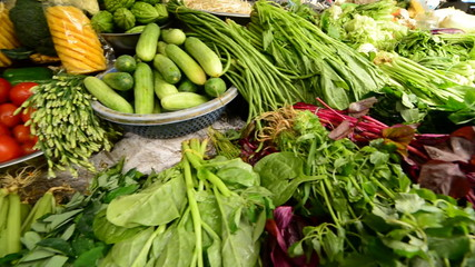 Pan of Fresh Greens in Busy Street Market in Ho Chi Minh City (Saigon)