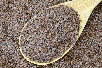 A wooden spoon full of Linseed (Flaxseed)