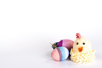 Easter card with a knitted toy - chicken