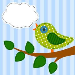 Bird as retro fabric applique