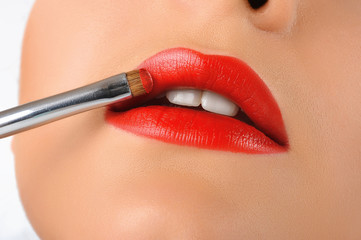 Make-up. Red lips