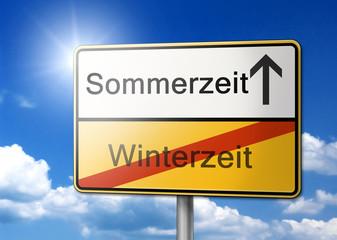 Sommerzeit Winterzeit Schild Wechsel Zeitumstellung