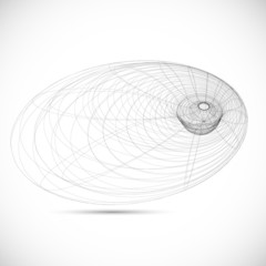 black hole magnetic field sketch icon template vector