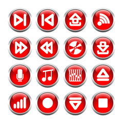 Set of buttons for web, arrows, wi-fi, microphone equalizer, not