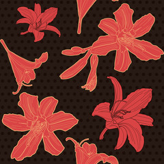 Seamless black floral pattern with red lily