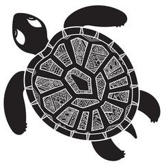 Decorative graphic turtle,  tribal totem animal, vector illustra