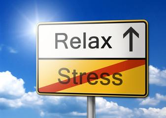 Relax Stress Schild