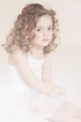 Pensive girl in studio