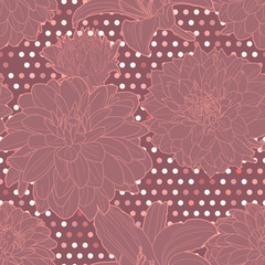 Lovely colorful violet seamless lily-aster pattern with dots