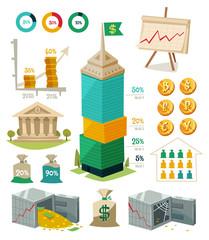 Economics and finance. Infographic elements.
