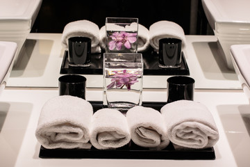 Towel in the luxury toilet with aromatheraphy smell