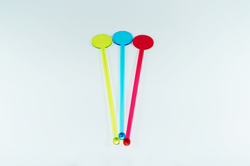 Colorful drink mixing sticks
