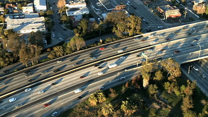 Speed Up Aerial View of Los Angeles Freeway / Highway / Suburbs - Clip 5