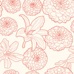 Seamless vintage floral pattern with aster and lily