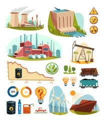 Energetics and natural resources. Infographic elements.