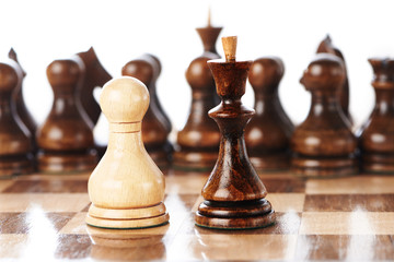 Chessmen, queen and pawn