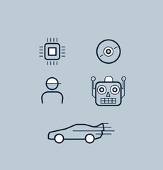 Set of simple electronic icons.