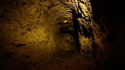Dolly Pan of Abandon Gold Silver Mine at Night