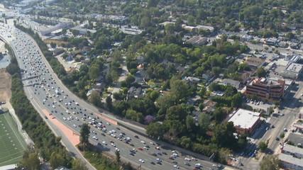Aerial View of Los Angeles Freeway Suburbs California