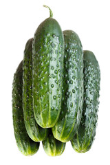 Fresh cucumbers stacked in a pile. Isolated.