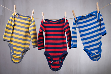 Colorful baby goods hanging clothesline