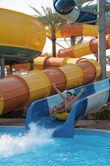 Man and woman in the water park