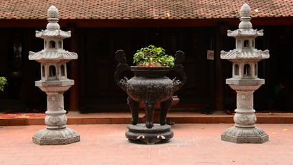 Zoom Out of Bonsai Tree Pot  - Tran Quoc Pagoda in Hanoi Vietnam