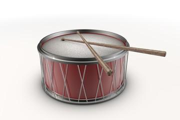 Illustratie van een rode trommel met drumstokjes