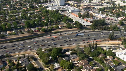 Aerial View of Los Angeles Freeway Suburbs California