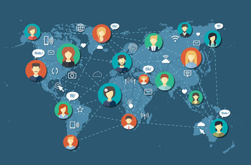 Illustration of social people network community
