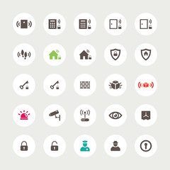 Set of flat secure icons