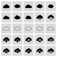 Set of isolated vector cloud icons