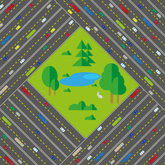 Roads and forest