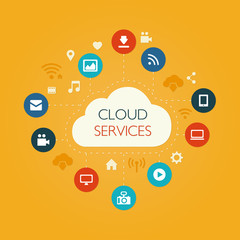 Illustration of flat design composition with cloud