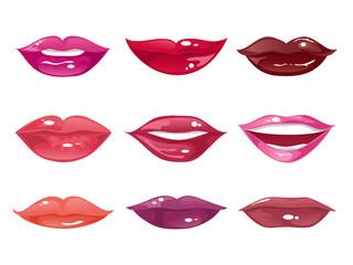 Set of female lips on a white background. Vector illustration