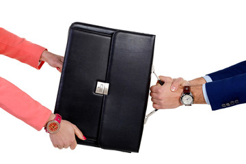 Man and woman pulling a portfolio ..In the hands of the clock