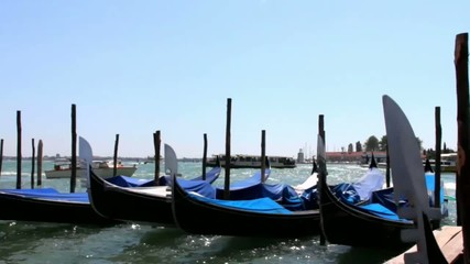 Gondolas at rest by Piazza San Marco